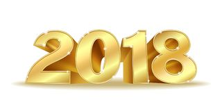Happy New Year 2018 golden numbers. Happy New Year 2018. Golden 3D numbers on a white background. Design for your Seasonal Flyers and Greetings Card or Christmas Royalty Free Stock Images