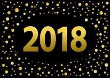 Happy new year 2018 golden numbers over black background with golden confetti. Happy new year 2018 golden numbers over black background with golden circles vector illustration