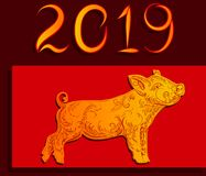 Happy New Year 2019, golden pig on a red background Vector illustration stock illustration