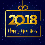 2018 Happy New Year golden present card Stock Photo