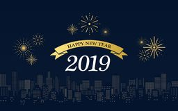 Happy new year 2019 in golden ribbons with fireworks and city skyline at night on dark blue color background. Happy new year 2019 in golden ribbons with stock illustration