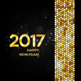 Happy New Year 2017 golden shimmer background. Made of abstract spangles for your greeting card design Stock Photography