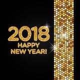 Happy New Year 2018 golden shimmer background. Made of abstract spangles for your greeting card design Royalty Free Stock Images