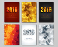 Happy New Year 2016 golden, silver and red. Greeting cards in polygonal origami style. Holiday design. Vector illustration. Party poster, greeting card, banner royalty free illustration