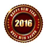 Happy New Year 2016 golden stamp with ribbon. Royalty Free Stock Image