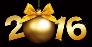 Happy new year 2016 golden text with ball on black background Royalty Free Stock Photography