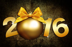 Happy new year 2016 golden text with ball in grunge  background. Happy new year 2016 golden text with ball in grunge  brown background Stock Image