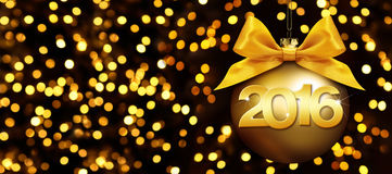 Happy new year 2016 golden text on ball in lights background. Happy new year 2016 golden text on ball in lights glitter background Royalty Free Stock Photography