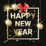 Happy New Year Golden Text On Black Shining Background With Gold Christmas Balls Stock Photography