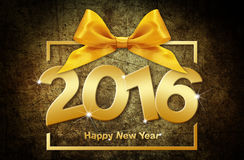 Happy new year 2016 golden text with box and ribbon. On grunge  brown background Stock Photos