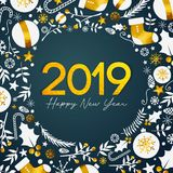 2019 Happy New Year Golden Text on Dark Teal Background royalty free illustration