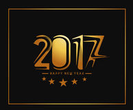 Happy new year 2017 Golden Text Design. Vector illustration Stock Images