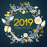 2019 Happy New Year Golden Text Inside Circle Golden Ornament Ca royalty free illustration