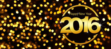 Happy new year 2016 golden text in lights background Royalty Free Stock Images