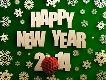 Happy new year 2014. Golden happy new year 2014 text with red christmas ball on green background. 3d image Royalty Free Stock Photo