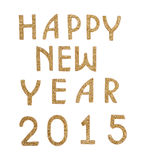 Happy New Year 2015 in golden text Royalty Free Stock Photography