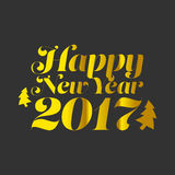 Happy New Year 2017. With golden texture and black background Royalty Free Stock Images