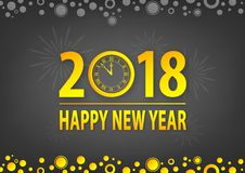Let`s celebrate happy new year 2018. Happy new year 2018 golden vector text on grey background Stock Photo