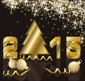 Happy 2015 new year with golden xmas tree Stock Images