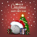 Happy New Year. Golf ball and Christmas tree