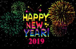 Happy New Year 2019. Graphic design on black wallpaper stock illustration