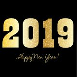 Happy new year 2019 graphic with gold confetti pattern stock illustration