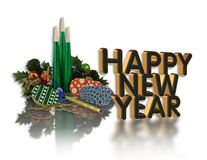 Happy New Year graphic noise makers stock photos