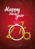 Happy New year 2016. Graphic red card vector Stock Images