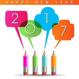 2017 Happy New Year graphic. With talking pencils Stock Photography