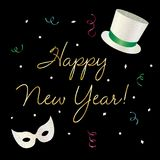 Happy new year graphic with top hat and mask stock illustration