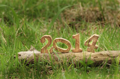 Happy New Year 2014 on grasses in the garden Stock Photography