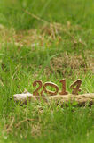 Happy New Year 2014 on grasses in the garden Stock Images