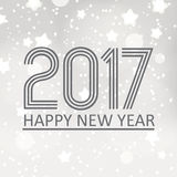 Happy new year 2017 on gray silver bokeh background with stars and snow eps10. Happy new year 2017 on gray silver bokeh background with stars and snow Stock Photography