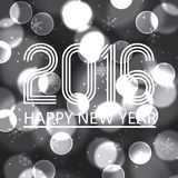 Happy new year 2016 on grayscale bokeh circle background eps10 Royalty Free Stock Image