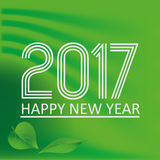 Happy new year 2017 on green abstract color background eps10 Royalty Free Stock Photo