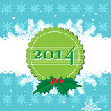 Happy New Year. Green badge with the number 2014 over a blue background with white snowflakes. New Year theme Royalty Free Illustration