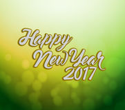 Happy new year 2017 green bokeh. Illustration design background Royalty Free Stock Images