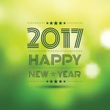 Happy new year 2017. In green bokeh pattern background ,vector illustration Royalty Free Stock Image