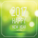 Happy new year 2017. In green bokeh pattern background with vintage frame,vector illustration Stock Photos