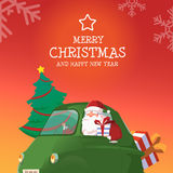 Happy New Year Green Car. Happy New Year Rad Car Santa Tree Gift Design Template Snow Flake Background Vector Illustration