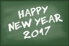 Happy New Year 2017 on green chalkboard. Vector Royalty Free Illustration