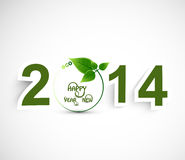 Happy New year 2014 green colorful background Vector Illustration