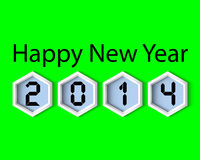 Happy New Year 2014 Green digital Stock Image