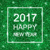 2017 Happy New Year on green glitter. Vector. 2017 Happy New Year card on green shiny glitter background. Vector illustration Royalty Free Stock Photos