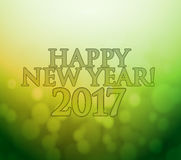2017 Happy New Year. green and gold bokeh lights. Background Royalty Free Stock Photos