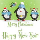 New Year penguins green greeting card vector. Happy New Year green greeting card with cute four penguins vector illustration Royalty Free Stock Image