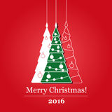 Happy new year 2016. Green spruce on red background. merry christmas 2016 Stock Image
