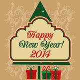 Happy new year. A green tree with colored circles and presents with a banner for new year Royalty Free Stock Photo