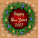 Happy new year 2017 green wreath Realistic Christmas coniferous wreath isolated  Stock Photos