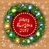 Happy new year 2017 green wreath Realistic Christmas coniferous wreath isolated. Vector Christmas happy new year 2017 green wreath. background. snow. light art Royalty Free Stock Photography